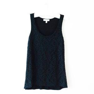 Kenar Black Lace Scoop Neck Tank Top Size Med
